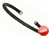 Sterling Silver 4mm Black Rhodium Adjustable Beaded Bangle style: 460090