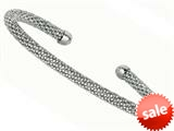 Sterling Silver 4mm Adjustable Beaded Bangle style: 460093