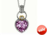 Phillip Gavriel 18K Yellow Gold and Sterling Silver Heart Shaped Amethyst Pendant With 18 Inch Chain style: 460095