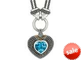 Phillip Gavriel 18K Yellow Gold and Sterling Silver Heart Shaped Blue Topaz Pendant With Double Stranded 18 Inch Chain style: 460096