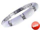 Sterling Silver 7.25 Inch White Enamel Bangle
