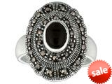 Sterling Silver Marcasite Oval Ring with Onyx Center
