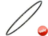 Sterling Silver 1.5mm Black Rhodium PlatingTexturized Diamond Cut Slip on Bangle
