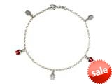 Sterling Silver 10 Inches 5 Lady Bugs Ankle Bracelet