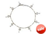 Sterling Silver 10 Inches 8 Keys Ankle Bracelet