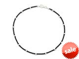 Sterling Silver with Black Rhodium 10 Inches Ankle Bracelet