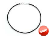 Sterling Silver with Black Rhodium 10 Inches Compress Cable Twist Ankle Bracelet