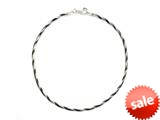10 Inches Snake Chain Ankle Bracelet with Black Rhodium
