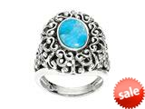 Sterling Silver Simulated Turquoise Ring style: 460187