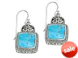 Sterling Silver Simulated Turquoise Square Drop Earrings