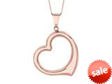 14K Pink Gold Open Heart Pendant on a 18 Inch Chain