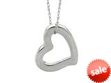 14K White Gold Open Heart Pendant on a 18 Inch Chain style: 460204