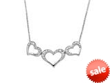 14K White Gold Triple Open Heart Pendant on a 18 Inch Chain style: 460205