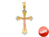 14K Yellow Gold Cross Pendant with Small Rose Gold Figurine and White Gold Diamond Cut Tip style: 460211