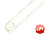 14K Yellow Gold 22 Inch Diamond Cut Adjustable Cable Chain with Lobster Clasp and Small Heart Charm