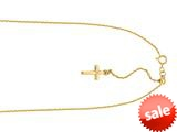 14K Yellow Gold 22 Inch Diamond Cut Adjustable Cable Chain with Spring Ring Clasp and Small Cross Charm style: 460237