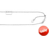 14kt White Gold 22 Inch bright-cut Adjustable Rope Chain with Lobster Clasp and Small Heart Charm style: 460254