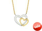 14K Yellow Gold 18 Inch Two Tone Open Heart Pendant with Pear Shape Clasp style: 460263