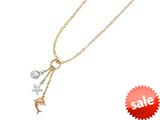 14K Yellow Gold 18 Inch Tri-Color Shell, Starfish, and Dolphin Dangle Sea Life Necklace with Spring Ring Clasp style: 460264
