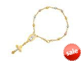 14K Yellow Gold 7 Inch Tri-Color Rosary Symbolic Cross Bracelet style: 460265