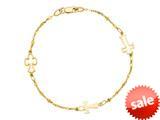 14K Yellow Gold 7 Inch Symbolic Cross Bracelet with Lobster Clasp style: 460266