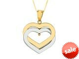 14K Yellow Gold Two Tone Open Heart Pendant on a 18 Inch Chain