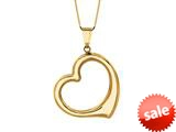 14K Yellow Gold Open Heart Pendant on a 18 Inch Chain