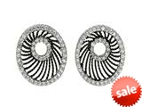 Ruthenium and Rhodium Plated Black Web Like Open Shape Earrings with Cubic Zircconia style: 460276