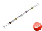 Rhodium Plated 7.5 Inch Alternate link Bracelet with Garnet, Citrine, Blue Topaz, Amethyst, and Peridot Stones