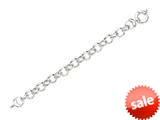 Rhodium Plated 8.25 Inch Round Link Bracelet with Spring Ring Clasp