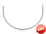 Rhodium Plated 7.5 Inch Round Bead Bracelet with Lobster Clasp