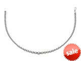 Rhodium Plated 18 Inch Round Bead Necklace with Lobster Clasp style: 460308