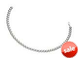Rhodium Plated 7.5 Inch Round Bead Bracelet with Lobster Clasp style: 460309