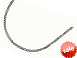 Rhodium Plated 18 Inch Round Mesh Necklace with Lobster Clasp