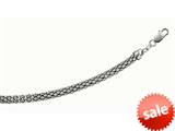 Rhodium Plated 7.5 Inch Round Popcorn like Bracelet with Lobster Clasp