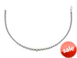 Rhodium Plated 17 Inch 5-8mm Round Bead Graduated Necklace with Lobster Clasp