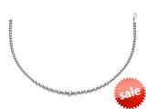 Rhodium Plated 17 Inch 6-12mm Round Bead Graduated Necklace with Lobster Clasp style: 460320