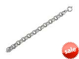 Rhodium Plated 7.5 Inch Oval Polish and Texture Link Bracelet with Spring Ring Clasp