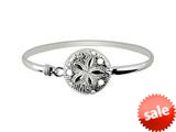 925 Sterling Silver 7 Inch Flat Dome Bangle with Damond Cut Round Flower Top
