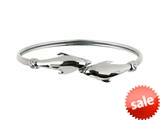 925 Sterling Silver 7 Inch Dome By Pass Bangle with Two Dolphin Top style: 460332