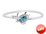 925 Sterling Silver 7.5 Inch Simulated Opal Sand Dollar Top Flat Domed Bangle