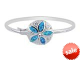 925 Sterling Silver 7.5 Inch Simulated Opal Sand Dollar Top Flat Domed Bangle style: 460336