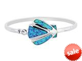 925 Sterling Silver 7.5 Inch Simulated Opal Shell Top Flat Domed Bangle