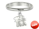 925 Sterling Silver Polished Girl and Boy Dangle Ring