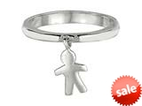 925 Sterling Silver Polished Boy Dangle Ring style: 460343