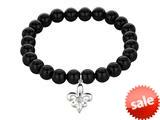 Phillip Gavriel 925 Sterling Silver 7.5 Inch Black Onyx Stretch Bead Bracelet with Fleur De Lis Charm style: 460350