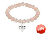 Phillip Gavriel 925 Sterling Silver 7.5 Inch Rose Quartz Stretch Bead Bracelet with Fleur De Lis Charm