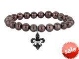 "Phillip Gavriel 7.5"" Freshwater Cultured Pearl Stretch Bracelet with Fleur De Lis Black Sapphire Charm style: 460355"