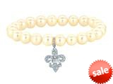 "Phillip Gavriel 7.5"" Freshwater Cultured-Pearl Stretch Bracelet with Fleur De Lis White Sapphire Charm style: 460356"