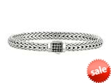 "Phillip Gavriel 7mm Sterling Silver with Black Sapphire Wide Wheat Patterned 7.5"" Bracelet style: 460366"